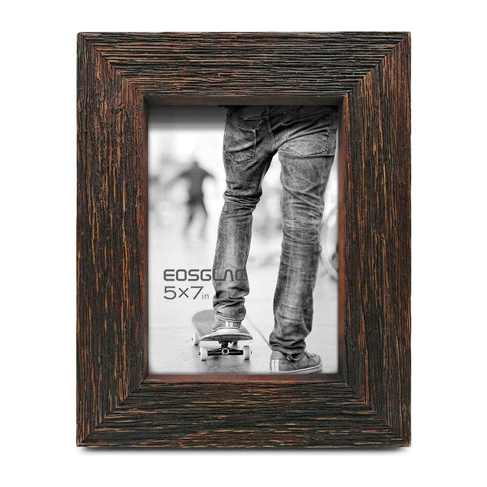 EosGlac Rustic Picture Frame 5x7, Weathered Dark Brown Reclaimed Look Wooden Photo Frame, Table Display with Easel