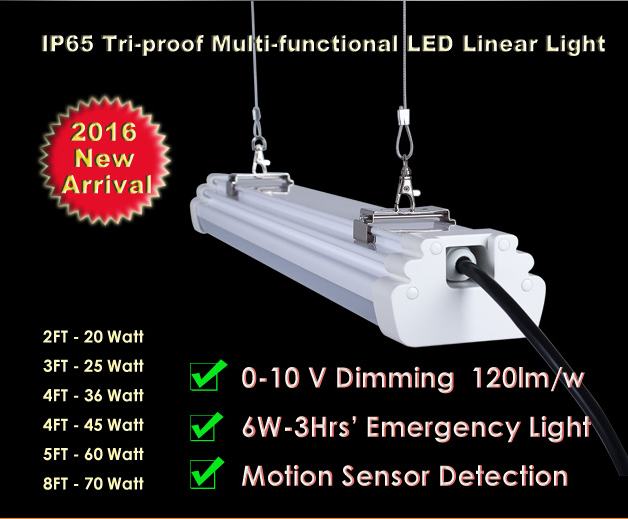 Dimmer CE ROHS liner tube led tri proof ip65 dimming sensor