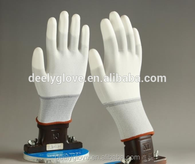 Cheap price White conductive pu finger top fit gloves with high quality