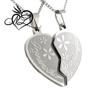 heart two grandmother apart piece granddaughter necklace hearts break pendant detail half product