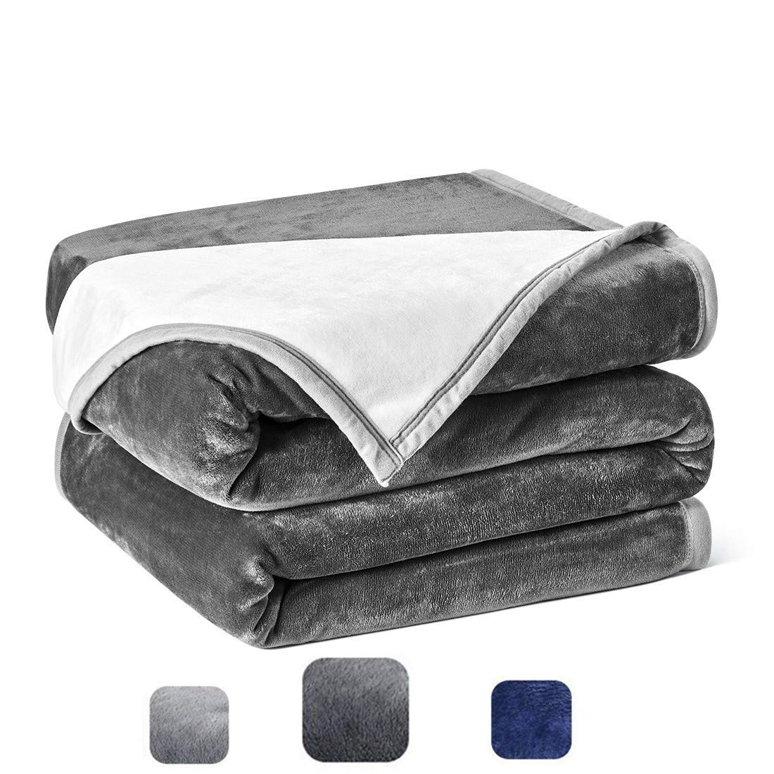 Cozylife Fleece Luxury Blanket Queen Size Super Soft Double-Sides Reversible Warm Flannel Blanket for Bed Couch Sofa,90x90 Inches,Dark Grey