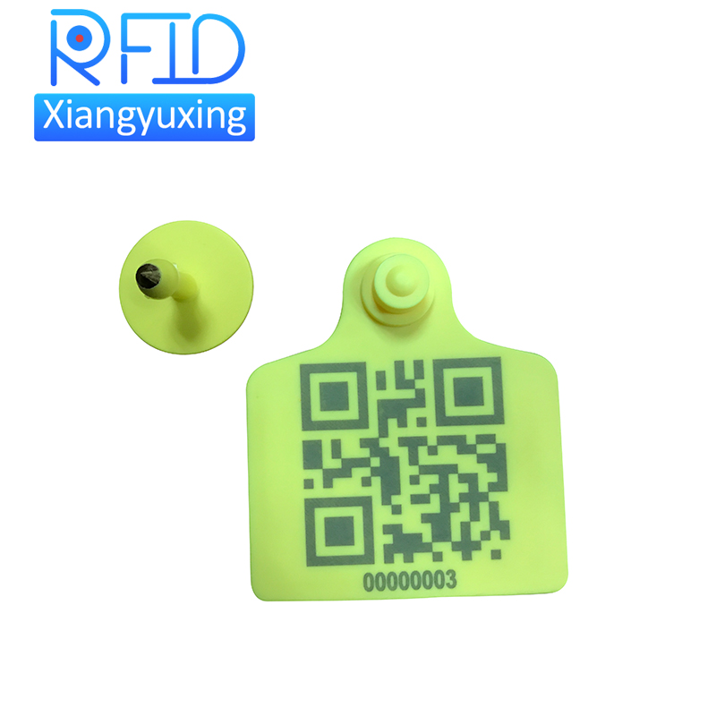 TPU Animal Ear Tags EPC gen2 livestock ear tag UHF RFID qr code cattle ear tag