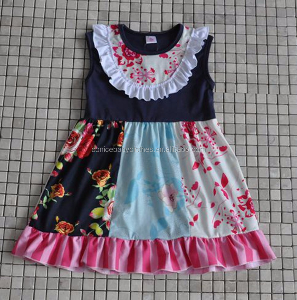 2016 del commercio all'ingrosso little kids springsleeveless stripes lace neonate princess dress