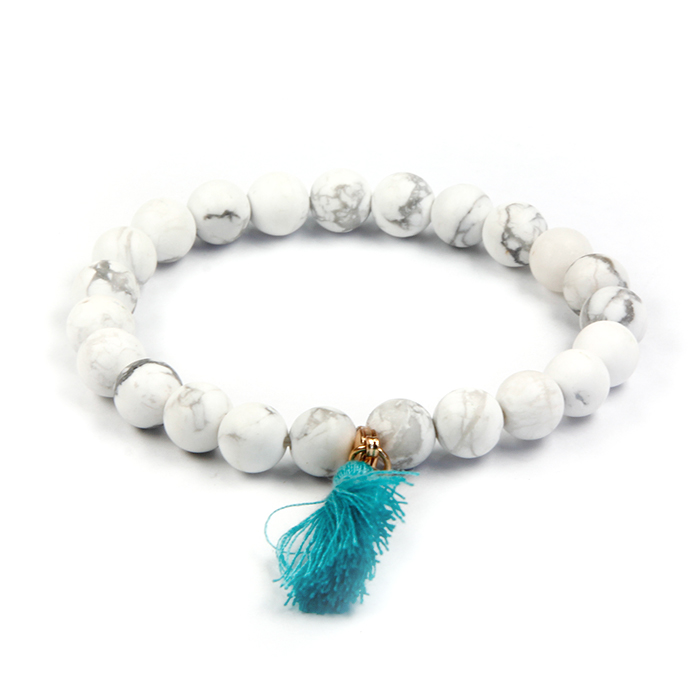 New Fashion White Howlite Yoga Natural Stone Beaded BraceletTassel Bracelet