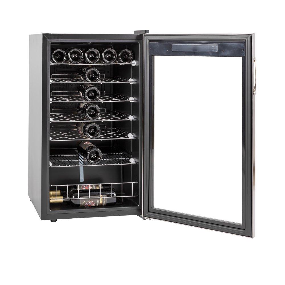 SMETA 3.4 cu ft 35 Bottles Wine Refrigerator with Stainless Steel Door Compressor Wine Cellar Fridge Freestanding Champagne Cooler,110V,39.2℉~64.4℉