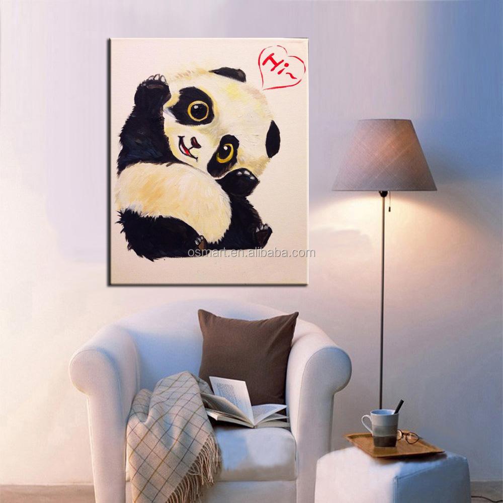 Baby Room Wall Decor Lovely Animal Baby Panda Says Hi Oil Painting ...