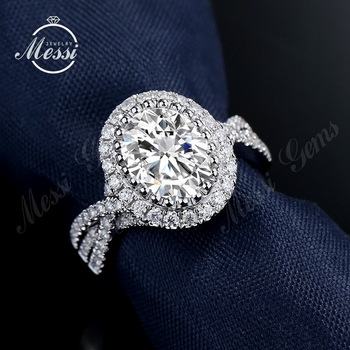 Forever 18K White Gold Big Oval Moissanite Stones Halo Women Wedding Rings