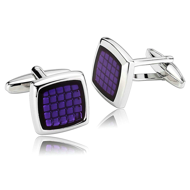 Mens Cufflinks Classic Square Cufflinks Stainless Steel Cufflinks Purple Cufflinks Dad Unique Jewelry Box Fancy Elegant Aooaz