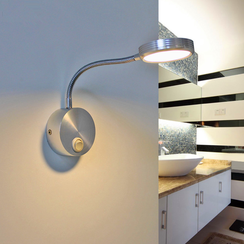 Typo Led Wall Light: Flexible Hose 5w LED Wall Lamps With Switch Modern Indoor