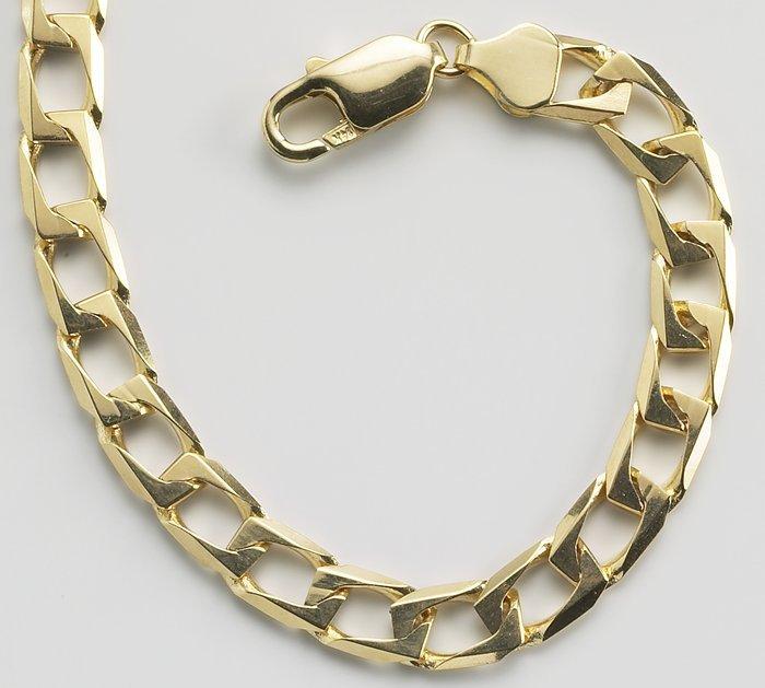 Cadenas De Oro Italiano 14k: 14 K Oro Cadena Del Encintado De 6.5mm Alargado-enlaces