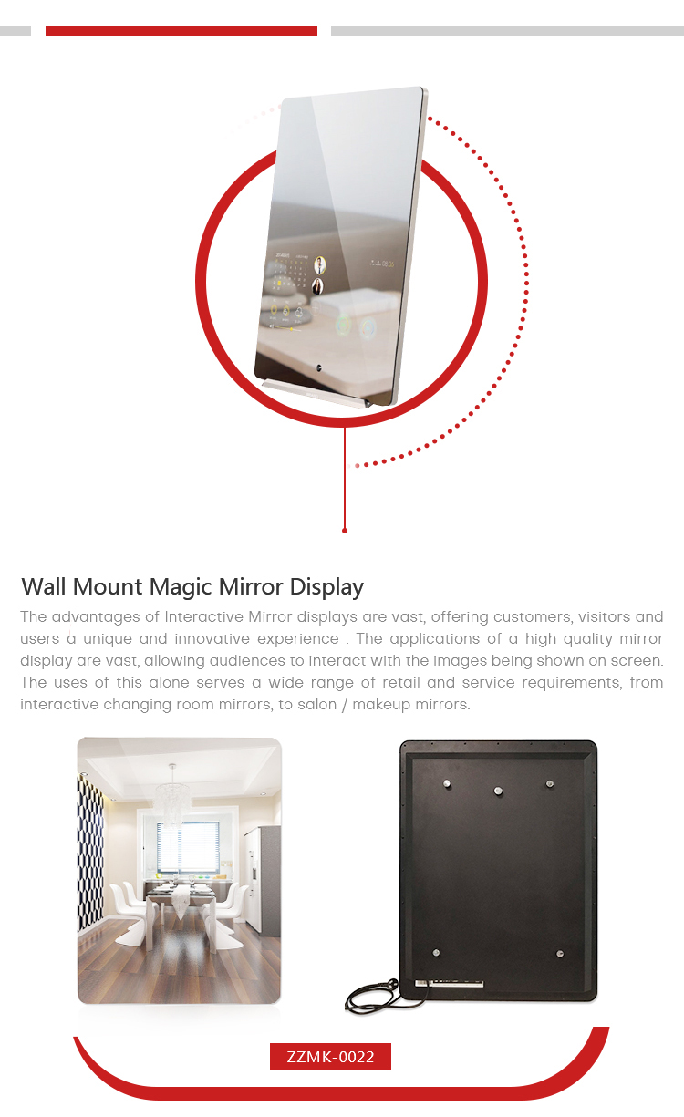 21.5 inch wall mount digital signage magic bathroom smart mirror