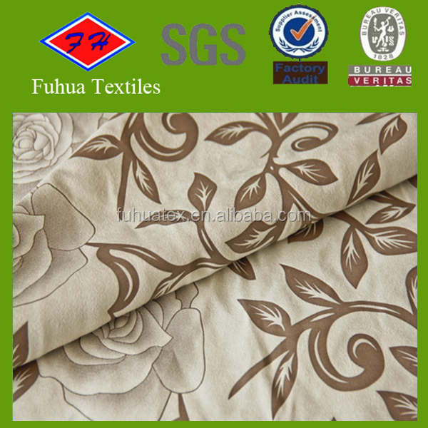 customize printed polyester micro suede pu coated fabric