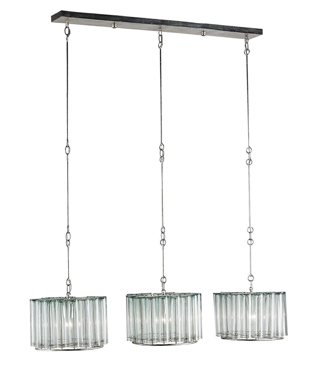 Currey and Company 9356 Bevilacqua Trio 3 Light Island Light in Silver Leaf