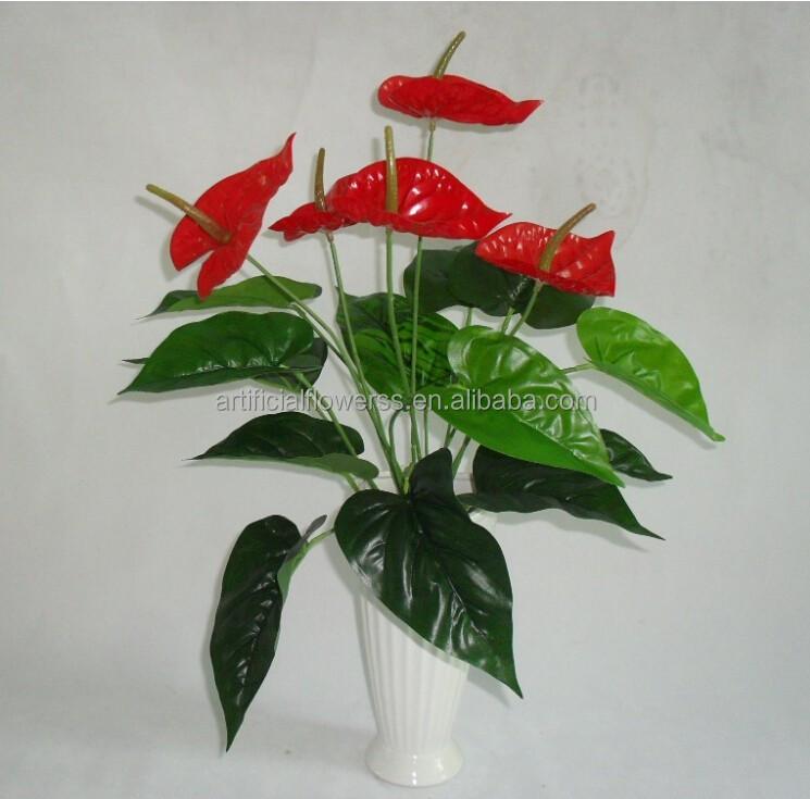 Hete verkoop 2015 rode anthurium bloem kunstmatige planten voor huisdecoratie decoratieve - Afbeelding van huisdecoratie ...