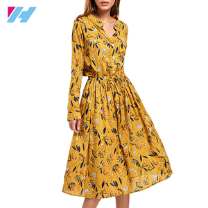 Oem New Fashion African Kitenge Dress Design Women Floral Patterns Print Yellow V-neck Casual Dress
