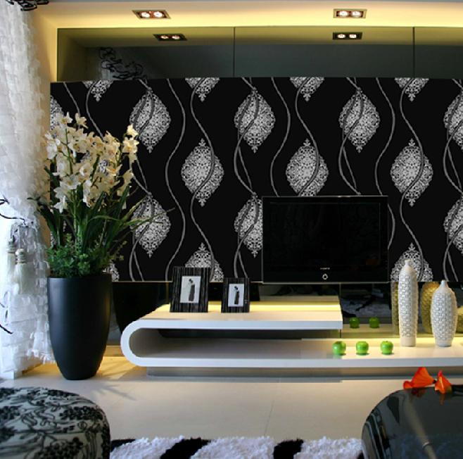 Black White Glitter Wall Paper Roll,Metallic Silver Black