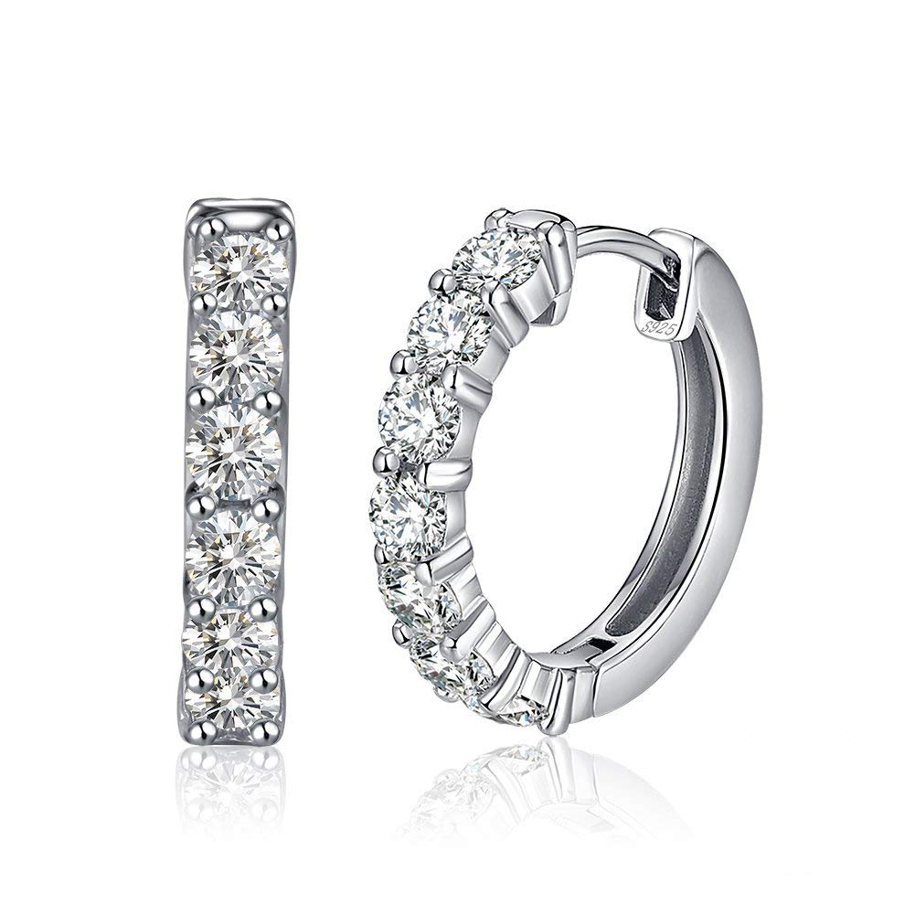 One Row Cubic Zirconia Studded Hoop Sterling Silver Earrings Ginger Lyne Collection