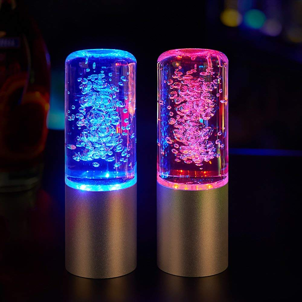Night Light Acrylic Button Colorful LED Crystal European Round LED Bar Rechargeable Lamp Bar Table Lamp KTV Nightclub Restaurant Table Lamp (Color : Red)