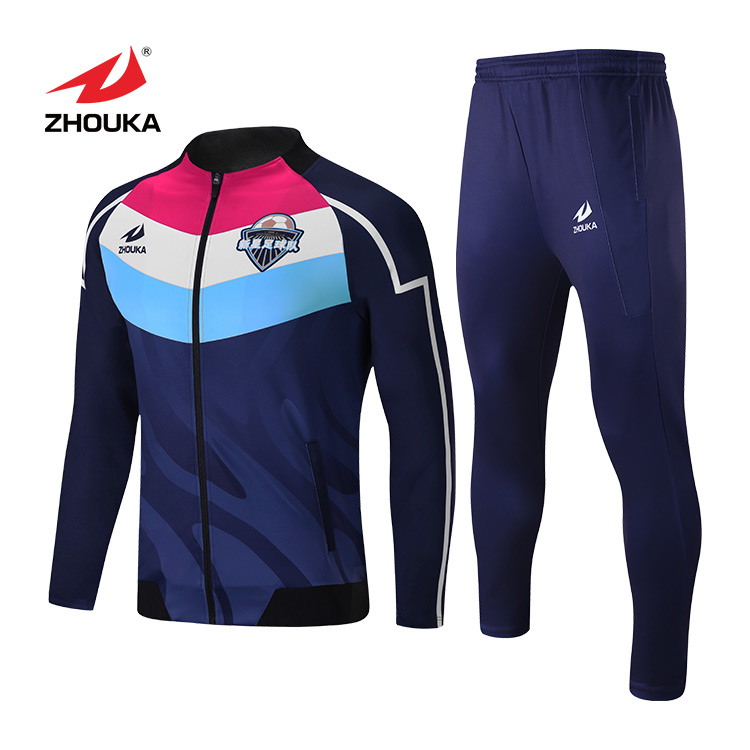 high quality new design mens custom logo team tracksuit football sportswear