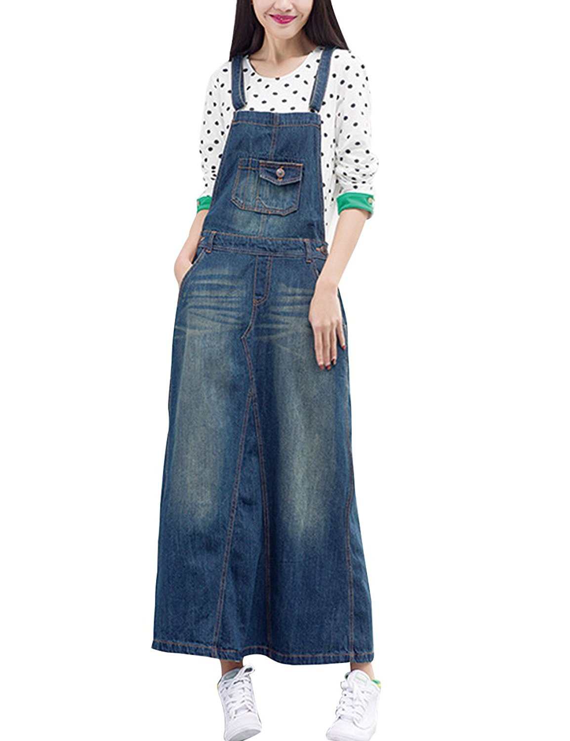 5ff5ed29342 Get Quotations · Zoulee Women s Casual Denim Dress Bib Overall Dress  Jumpsuits Rompers