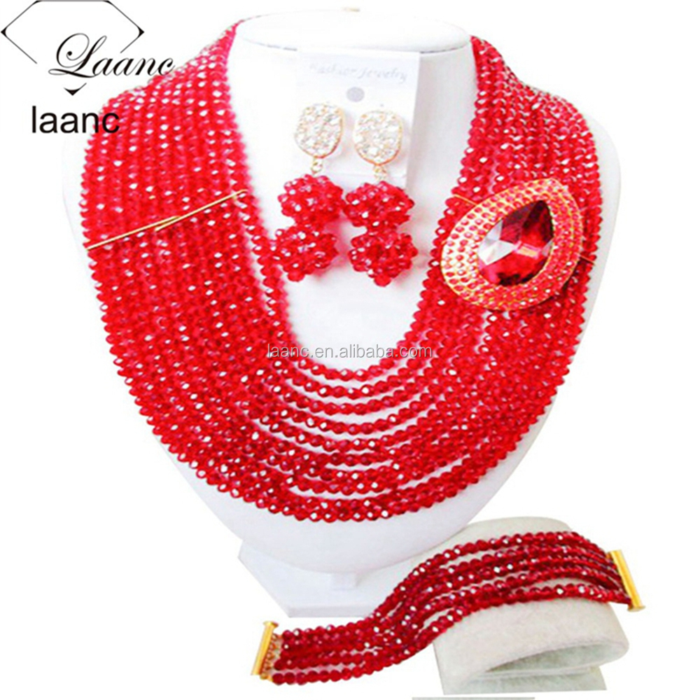 "Latest 10 Layer 18"" Crystal Arican Bead Red Necklace of Africa Nigeria Wedding Party Jewelry Set for Brides"