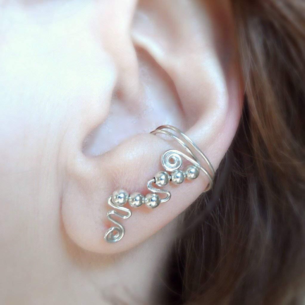 top bone ear cuff solid band silver clip on earring non-pierced heart detail UK