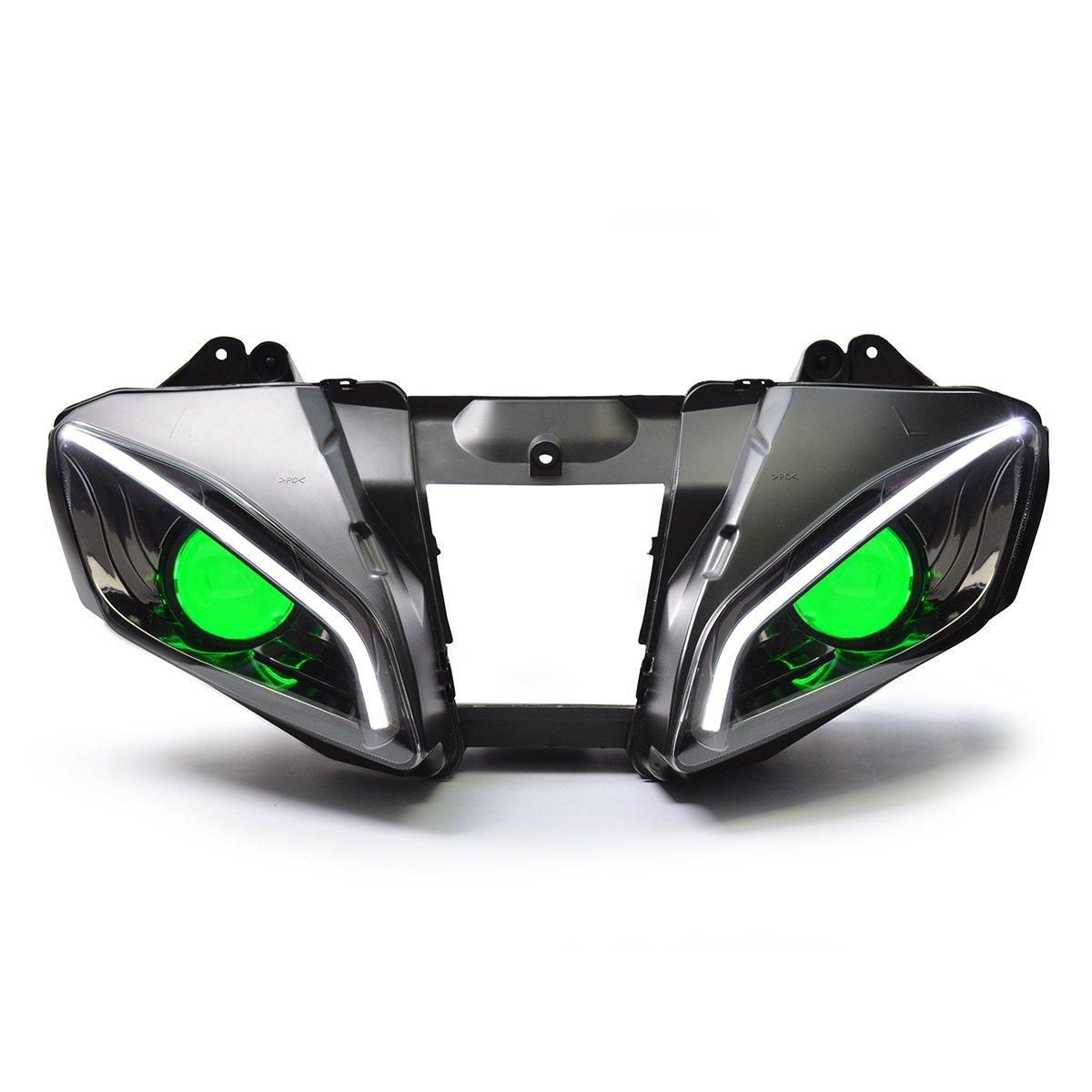 KT LED Optical Fiber Headlight Assembly for Yamaha R6 2006 2007 V2 Green Demon Eye