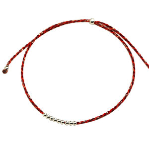 Zooying new simple red thread circle metal bead adjustable bracelet