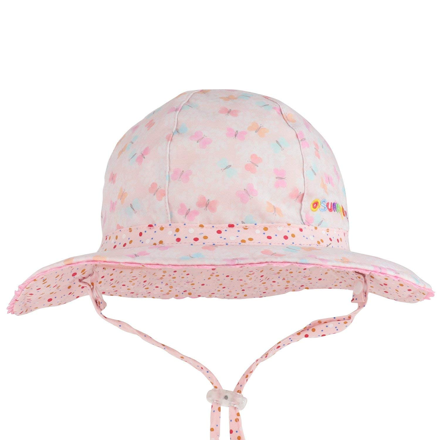 e33cfec6a98 Get Quotations · Trendy Apparel Shop Infant Girl s Butterfly and Polka Dots  Reversible UPF Sun Floppy Hat