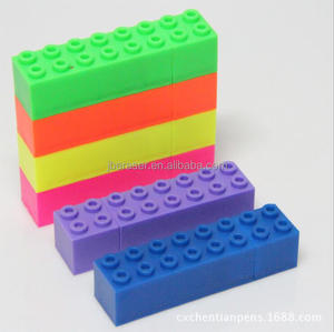 Multi colored highlighter with building block shape