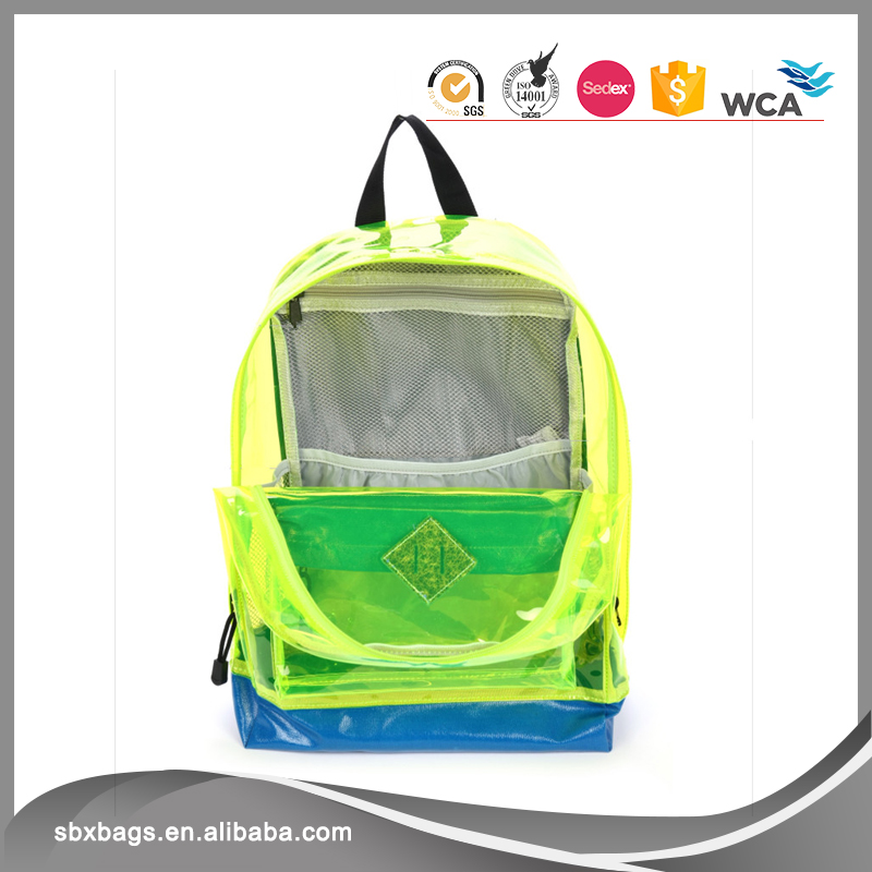 High Quality Transparent PVC Clear EVA School Backpack Shoulder Rucksack for Campus