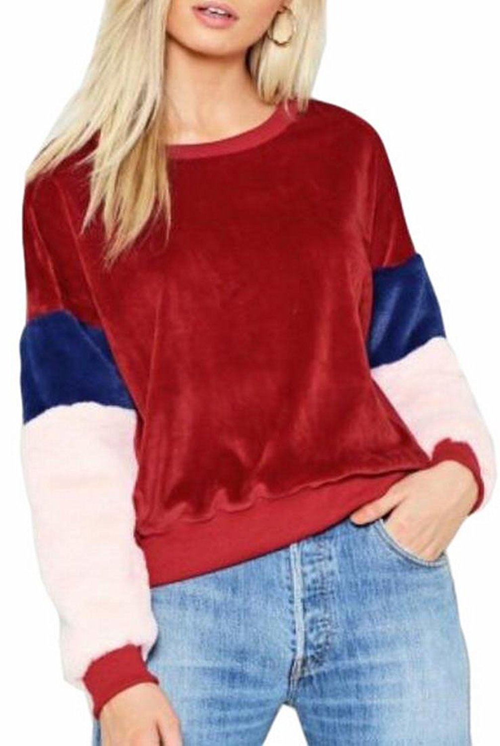 CBTLVSN Women Fashion Round Neck Long Sleeve Hit Color Pullover Sweatshirts
