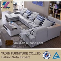 U-shaped large size fabric sofa with armchair and chaise lounge
