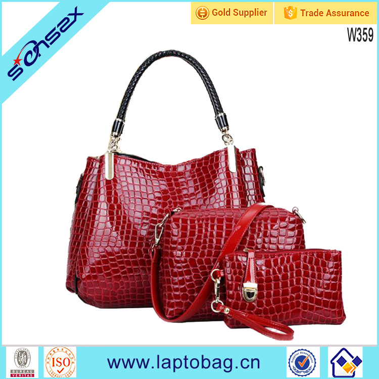 European style Pu leather Crocodile <strong>Grain</strong> Women black handle bag