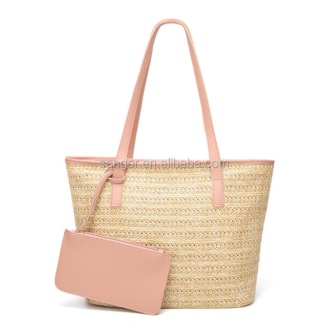 Customized Raffia Straw Crochet Beach Tote Bag