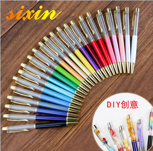 Japan Innovative Gold Foil Oil Liquid Ball Pen Creative DIY Liquid Floater Pen Colorful DIY Glitter Empty Tube Ballpoint Pen