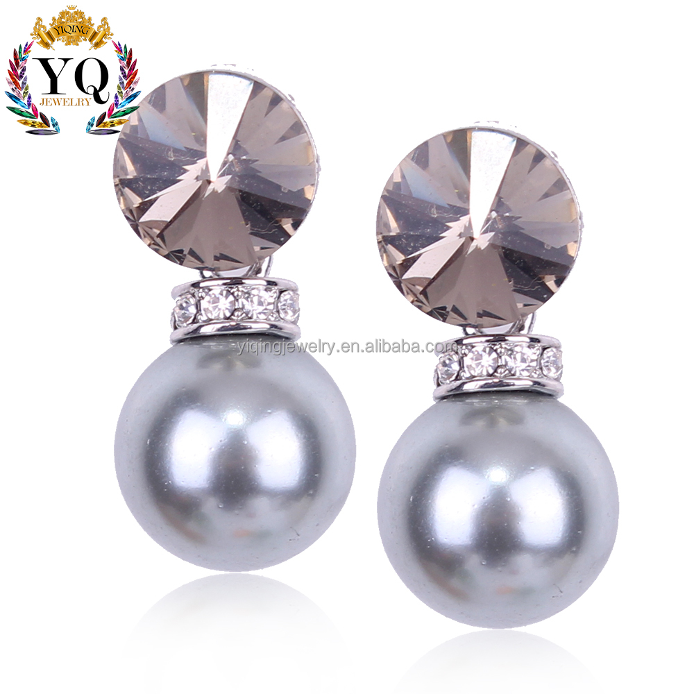 EYQ-00320 fine charm gray and white pearl stud with pearl pendant earring crystal two ball earrings