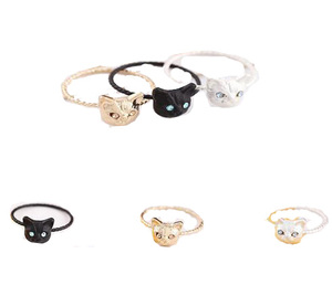 animal cute cat women ring