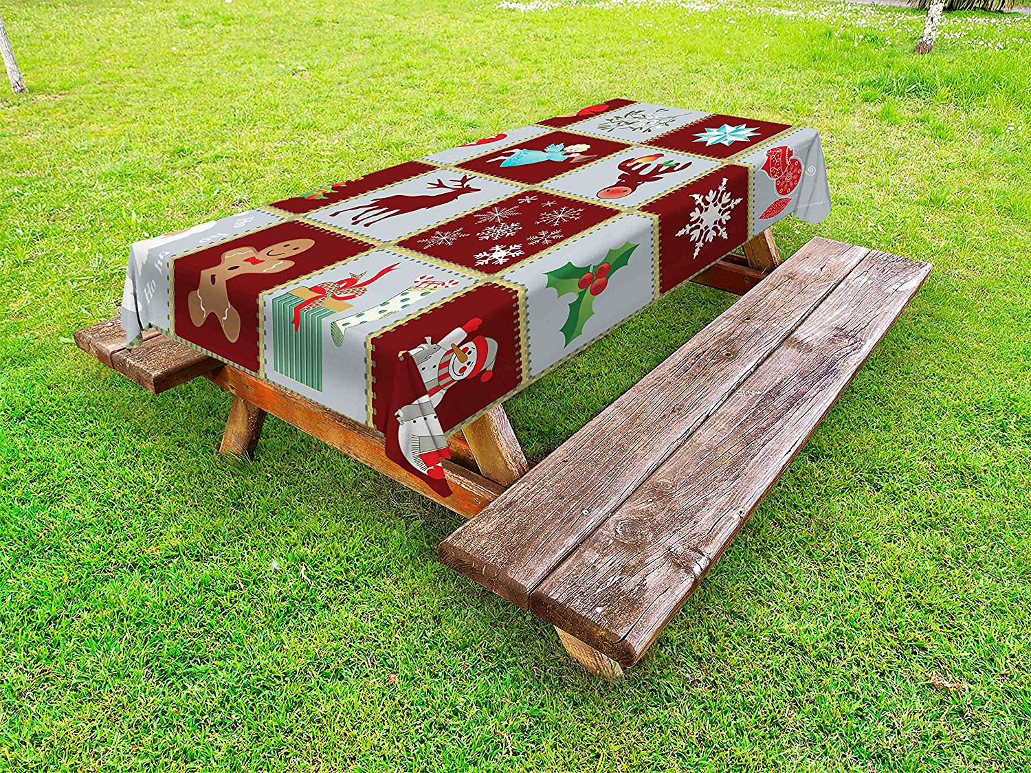 Ambesonne Angel Outdoor Tablecloth, Christmas Tree Reindeers Noel Santa Presents Snowman Pine Tree Traditional, Decorative Washable Picnic Table Cloth, 58 X 104 Inches, Burgundy Blue Grey