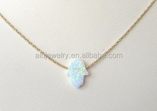 925 sterling silver Opal Hamsa Pendant Necklace , mix color ok