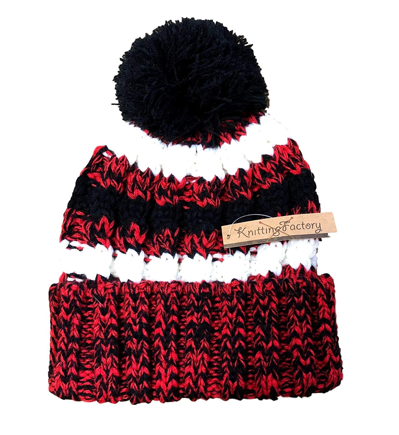 3f10a0f7013 Knitting Factory Unisex Winter Pom Pom Beanie Hat Knit Warm Cozy Hat Red  Black White Combo