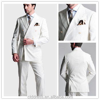 New Fashion Style Mens White Color Double Breasted Slim Fit Suit ...