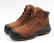 Brown lace up ankle cut full grain leather lands working boots for men