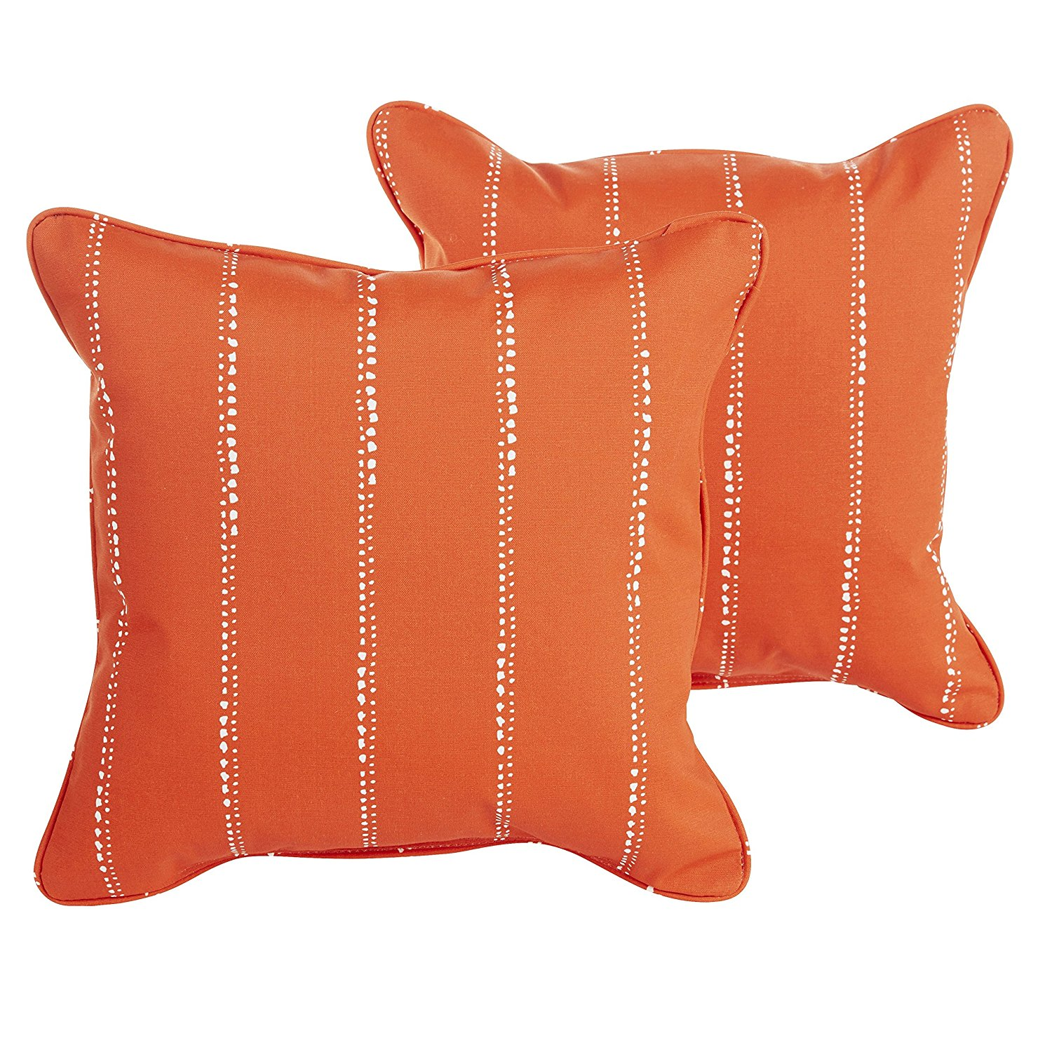 Mozaic Company Caldwell II Orange Dotted Stripes Indoor/ Outdoor 22 inch Corded Pillow Set