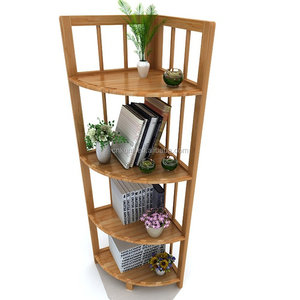 4 Tier Free Standing Wood Bamboo Corner Shelf Unit for Home Kitchen Bathroom Tower Organizer Shelving Storage Rack