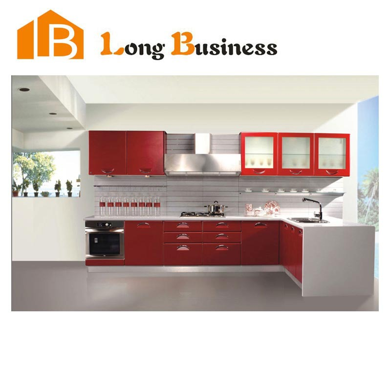 LB-JX1103 European style high glossy red kitchen Cabinet