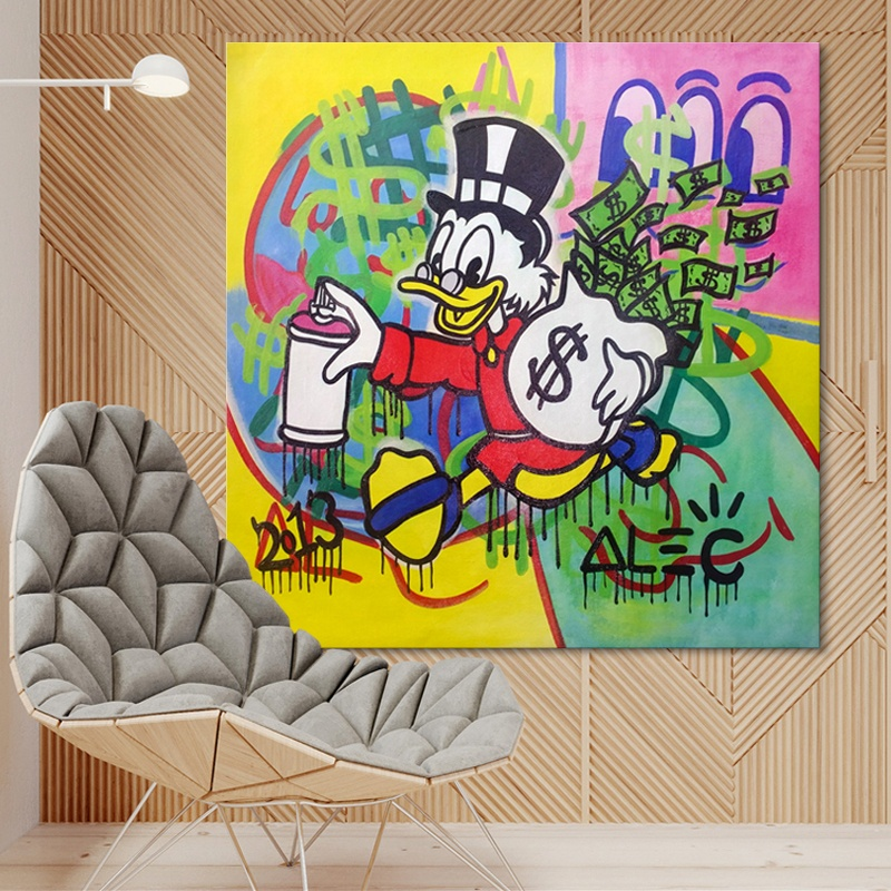 Pop Art Canvas Wall Art Decor Famous Cartoon Donald Duck Oil Painting Money Art For Kids Room Club Shop Decoration Buy Pop Art Canvas Wall Art