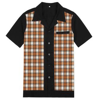 Vintage Western Gecontroleerd Casual SHIRTS Heren Leisure Brown Plaid Korte Mouwen Shirt
