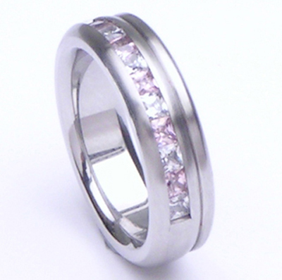 wholesale channel set cz brushed mens wedding ring titanium bands