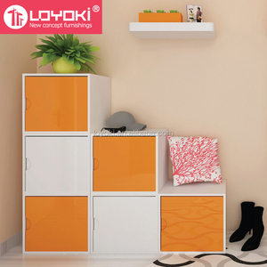 Colorful DIY assembly wood cabinet MDF Stackable cube organizer cube storage home wood furniture 2 tier Storage Boxes